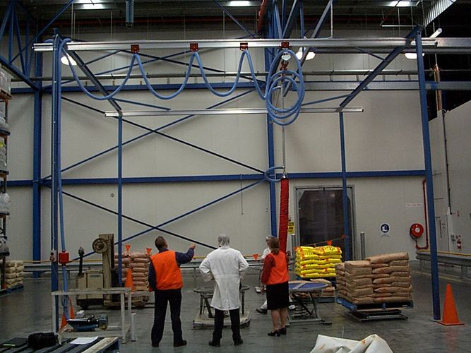 Bag Handling, Vacuum bag handling, Food processing gantry, separation of forklift and traffic