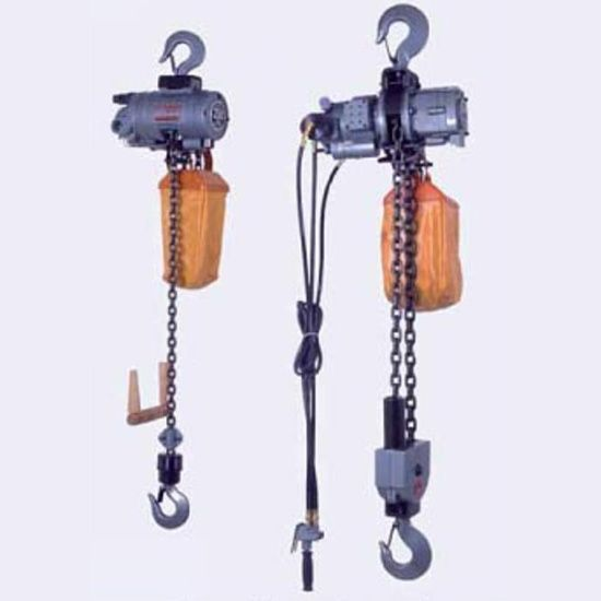 Pneumatic air chain hoist with pull cord and pendant control