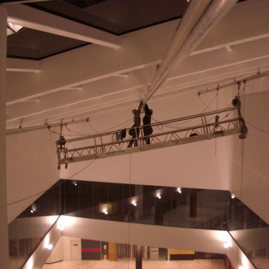 atrium access rail, rope access rail, internal atrium height safety, swing stage rail system