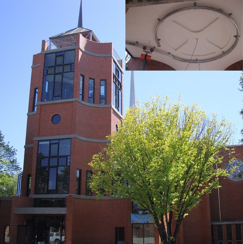 Curved monorail for maintaining heavy church bells