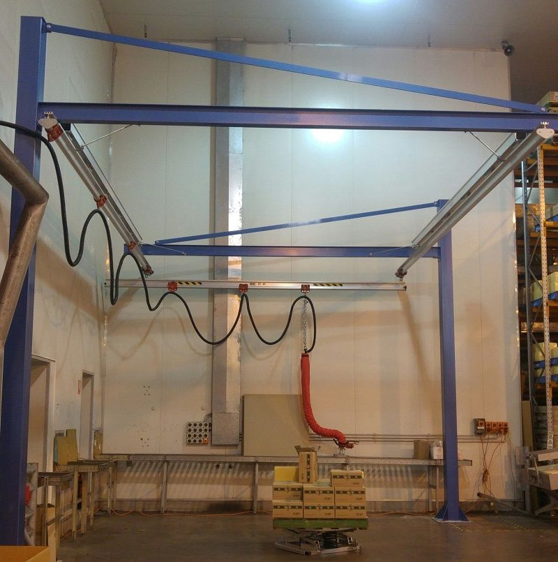 Cantilevered gantry crane with tilting foot vacuum lifter