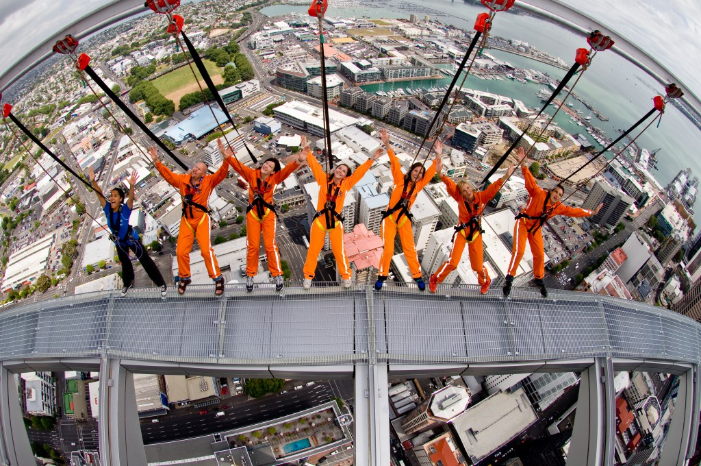 Visitors at Sky Walk in harnesses attached to the Altrac rail system.